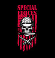 special forces skull in army helmet with crossed vector image vector image