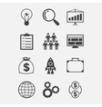 Start-up icon set in flat design style vector image