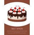 tasty cake with dark chocolate and cherries on top vector image vector image