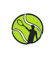 tennis ball with player inside vector image vector image