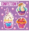 three tasty cakes on a pink background vector image vector image