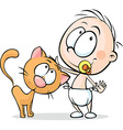 toddler standing and stroking a cat - vector image vector image