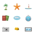 Travel to sea icons set cartoon style vector image