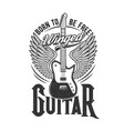 tshirt print with winged electric guitar vector image