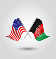 two crossed american and afghan flags vector image vector image