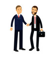 two smiling businessmen characters in suits are vector image vector image