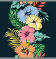 vivid hibiscus flowers seamless pattern ribbon vector image vector image