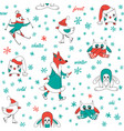 white seamless pattern winter fun vector image