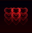with red hearts on a dark background for your vector image vector image