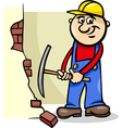 worker with pick cartoon vector image
