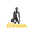 working man for logo template vector image vector image