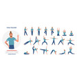 yoga teacher poses set cartoon yogist doing asana vector image vector image