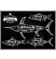 diagram cut carcasses salmon swordfish herring tun vector image