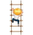 a boy climbing rope vector image