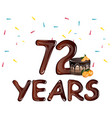 anniversary card 72 years vector image vector image