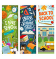 back to school study supplies sale on chalkboard vector image vector image