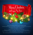 Blue Christmas background with garlandred ribbon vector image vector image