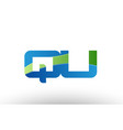 blue green qu q u alphabet letter logo vector image vector image