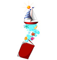 Book of sailboat in the sea vector image