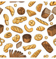 bun bagel baguette and other bakery foods vector image