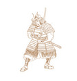bushi samurai warrior drawing vector image vector image