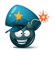cartoon bomb fuse wick spark icon police vector image