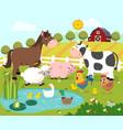 cartoon happy farm animals vector image