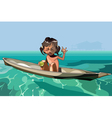 cartoon little girl sailing alone in a boat vector image vector image