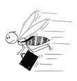 cartoon of businessman depicted as flying vector image vector image