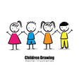 children drawing design vector image vector image