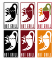 chili pepper with fire labels set vector image