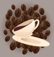 coffee beans and cup vector image vector image