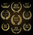 collection golden label with laurel wreath vector image
