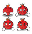 collection of pomegranate cartoon character style vector image vector image