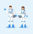 cosmonauts in spacesuits flat vector image vector image