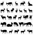 deer and goats silhouettes set vector image vector image