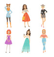 fashionable girls cartoon female characters in vector image