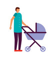 father with baby pram vector image