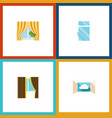 flat icon window set of glass glass frame cloud vector image vector image