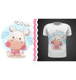 funny teddy cow - idea for print t-shirt vector image vector image