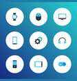 gadget icons colored set with mouse monitor pc vector image