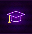 graduation cap neon label vector image