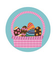 happy easter basket egg decoration icon vector image vector image