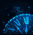 happy new year greeting card with glowing low poly vector image vector image