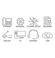 icons with gadgets and communication transmission vector image