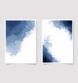 indigo watercolor wet wash splash invitation card vector image