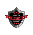 limited lifetime warranty sign silver shield seal vector image vector image