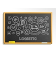 Logistic hand draw integrated icons set on school vector image