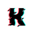 logo letter k glitch distortion diagonal vector image
