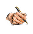 male hand with pen from a splash watercolor vector image vector image